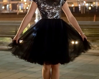 Brianna Modest Prom Dress - Black Sequin Dress - Short Sequin Dress - Modest Formal - Modest Prom Dress with Sleeves - Bridesmaid Dresses