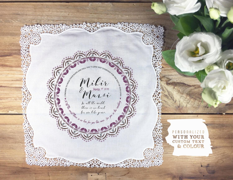 Wedding Gift List Bespoke : Bespoke personalized handkerchief wedding gift hand