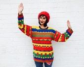1980's Kitsch Cactus Cotton Striped Sweater
