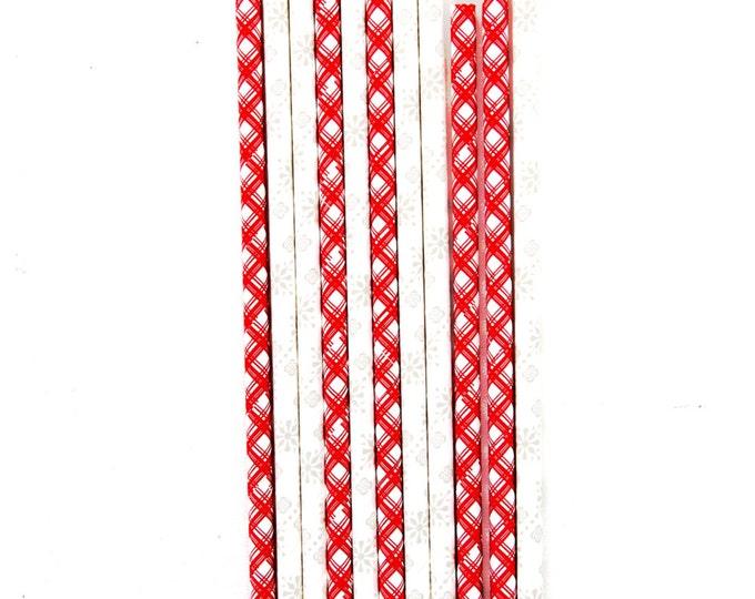 Christmas Plaid Straw, Decorative Straw, Rustic Straw, Holiday Party Straw, Christmas Straw Red, Grey Snowflake Straw, Snow Winter Straw