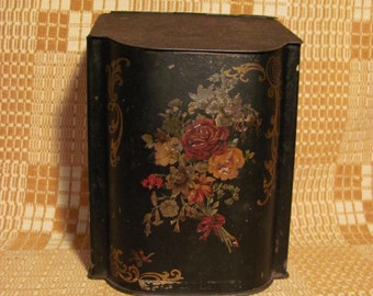 Victorian English Tea Tin Tole Painted Roses Flower & Butterfly Decoration