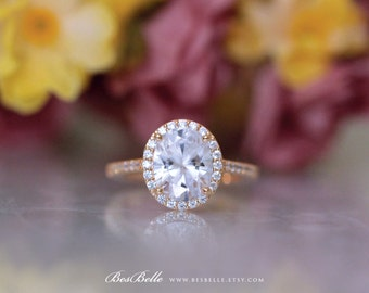 3.54 ct.tw Oval Cut Diamond Simulant-Oval Halo Engagement Ring-Bridal Ring-Wedding Ring-Rose Gold Plated-Sterling Silver [3052RG-1]