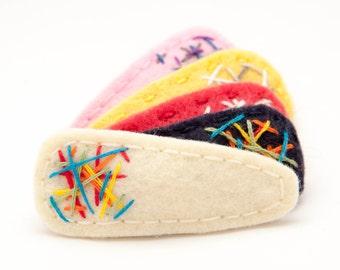Graffiti Hair Clip Rainbow/Cream, Wool Felt Hair Clip, Toddler Hair Clip, Simple Hair Clip, Modern Hair Clip, Barrette