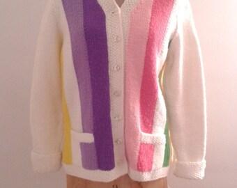 Vintage 1960's Colorful Pastel Awning Stripe Cardigan Sweater Sz Large Mod Preppy Mad Men