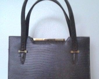 Vintage 1950's Brown Lizard Skin Purse Handbag Ladylike Classic
