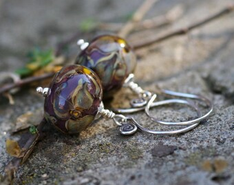 Lampwork silver earrings, Glass Earrings, Lampwork flower glass artisan bead earrings, handmade glass bead earrings, violet purple flowers
