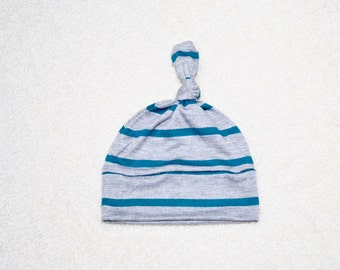 Teal Green Heather Gray Small Stripe Cotton Jersey, Knot Hat, Baby Hat, Baby Teal Green Knot Hat, Baby Gift