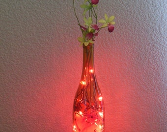Hello Kitty Wine Bottle Light Hibiscus with flowers Tiki (pink lights) wine bottle decor, wine bottle, wine bottle decoration, Hello Kitty