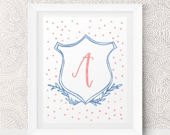 Printable kids gift Monogram Nursery Decor Nursery Letters Nursery Monogram Art Nursery Initials Printable Monogram Baby Monogram Printable