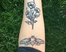 Cicada Temporary Tattoo, Black Line Tattoo, Insect, Bug Tattoo, Symmetrical Tattoo