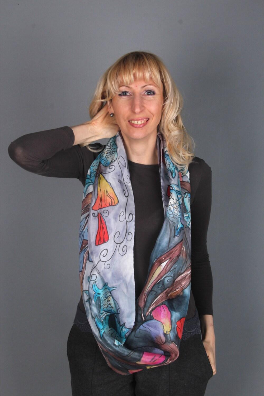 silk scarf fish fall fashion scarves infinity scarf taupe silk