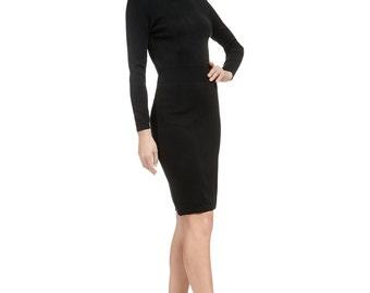 Turtleneck Black Dress Sweater Dress Long Sweater Dress