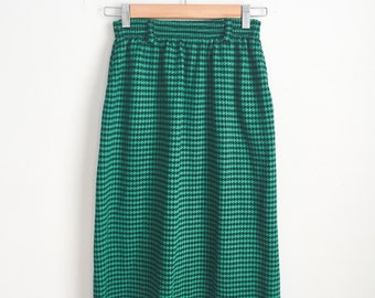 Vintage Midi Skirt with Pockets (Houndstooth Pattern), Midi Skirt, Green Midi Skirt