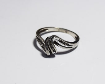 Vintage Silver and Crystal Ring, size 8.5