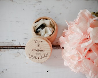 Engraved Wedding Ring Box, Wooden Ring Box, Wedding Gift, Ring Bearer Box, Engraved Wooden Box, Custom Name Ring Box, With This Ring Box