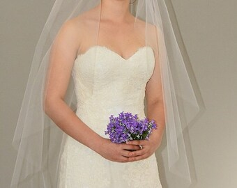 "Plain Angel Cut 48"" Wedding Veil with Cut Edge"