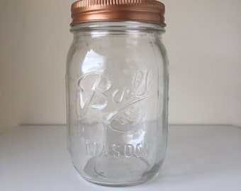 clear ball mason jar with metallic lid home decor centerpiece vase cutlery