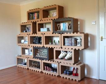 Brix - Modular Shelving System, Handmade, Eco Friendly,  Customisable, Shelves, Storage, Coloured Options, High Strength Cardboard, Modular