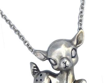 Deer Necklace       fawn bambi silver gold sitting large pendant charm jewelry