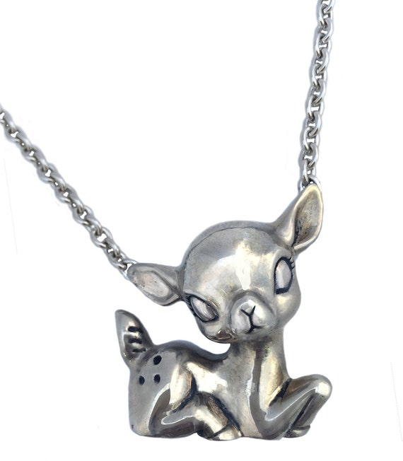 Deer Necklace fawn bambi sitting large pendant charm silver gold