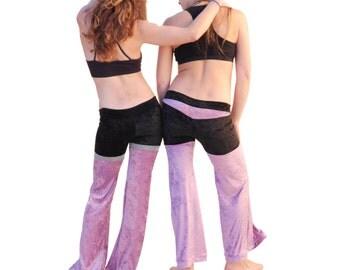 Lavender and Silver Velvet Dance Pants - Purple and Black Velvet Bellbottoms, Sexy Festival Pants
