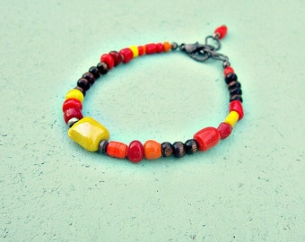 Adjustable Colorful Orange Red Yellow Glass and Wood Beaded Bracelet: Enid WAS 11.00