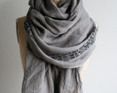 Gray Linen Scarf , Soft Scarves,  Printed Text , Long scarves, Unisex, Gray Scarves, Spring Linen Scarf