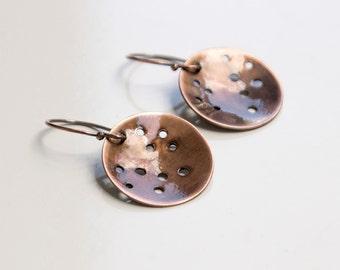 Copper Dangle Earrings - Rustic Chic Jewelry - Back To School Jewelry - Oxidized Earrings - Unique Jewelry - Metalwork Jewelry