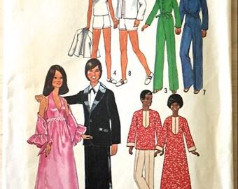 Vintage BARBIE & KEN DOLL Clothes Sewing Pattern ~ 1970s Formal Wear Tennis Outfit Caftan Jumpsuit Uncut