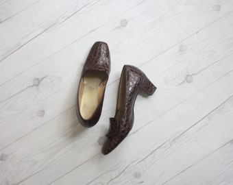 1950s crocodile pumps size 7