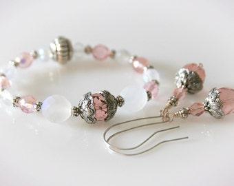 Pink & Glass Opal Bracelet and Earring Set. Beaded Stretch Bracelet Jewelry Set.