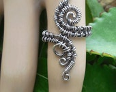 Silver bohemian ring silver wire ring wire wrapped ring gypsy rings silver boho ring statement ring bohemian jewelry wire wrap 7.5 ring