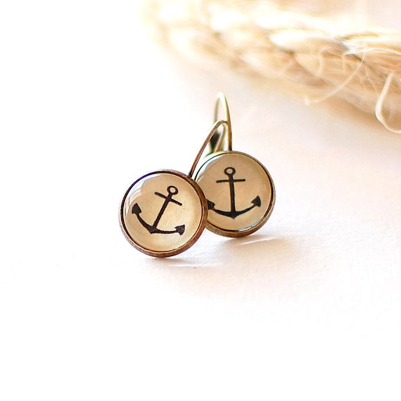 Anchor Earrings. Nautical Earrings. Summer Stud Earrings. Anchor Studs. Nautical Post Earrings.