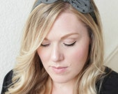 Scarf Headband - Black and Gray Preppy Dot Vintage Headband
