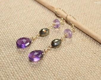 Amethyst, Pyrite and Pink Amethyst Earrings, Wire Wrap, Amethyst Jewelry, Gemstone Earrings