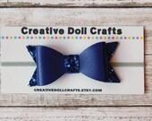 18 Inch Doll Navy Blue Glitter Bow Headband, Doll Glitter Bow, Hair Bow Headband For Doll, 15 Inch Doll Headband