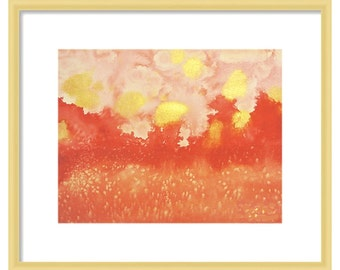 ORIGINAL watercolor abstract painting, scarlet, dark pink, orange, and gold, already matted 16x20 inches