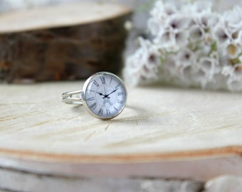 Vintage Style Clock Face Ring, Adjustable Ring, Glass Cabochon