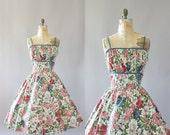 Vintage 50s Dress/ 1950s Cotton Dress/ Toni Todd Pink & Blue Floral Cotton Shelf Bust Dress w/ Jacket XL