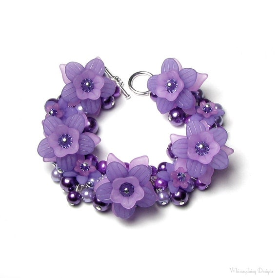 Wild Purple Passion Flower Tanzanite Swarovski Crystal Pearl Cluster Silver Charm Bracelet, Lavender Violet Lilac Fun Gift For Purple Lovers