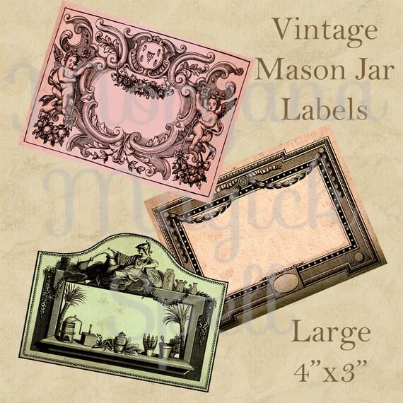 VINTAGE MASON JARS Labels - Large Magick Potion Ingredient Labels, Herb Labels, Digital Collage Sheets, Wicca, Witchcraft,  Spell Ingredient