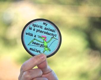 Hot Mullet Pterodactyl patch Spirit Animal Neon Pink Mullet Badge Dinosaur gift coworker bird raptor friend funny fun humor sardineriot