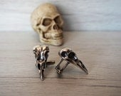 Raven Skull Cufflinks Men's skull accessories rocker cuff links ravens