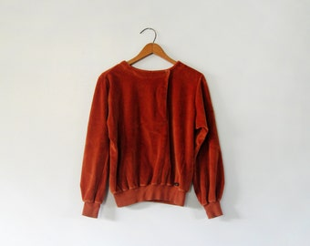 Vintage 70's Liz Clayborne Velour Top / Shirt Long Sleeves Rust