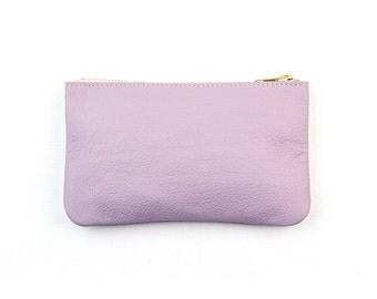 MAE Lavender Clutch. Purple Leather Bag. Pastel Leather Pouch. Light Purple Leather Wallet