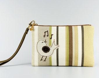 Clutch / Purse / Embroidered pouch / bird applique