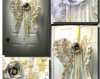 Large, Muslin, Tattered, Fabric, Door Angel Wings, Wall Hanging with Music Paper Rosette and long Sash,Farmhouse chic, Cottage