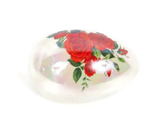 Vintage Porcelain Egg Box Iridescent Trinket Holder Red Rose Design Candy Bowl Pill Box