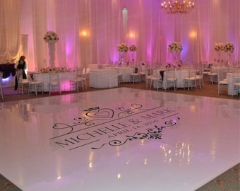 Wedding Dance Floor Decal, Wedding Floor Monogram, Vinyl Floor Decals, Wedding Decor -  DFD0002
