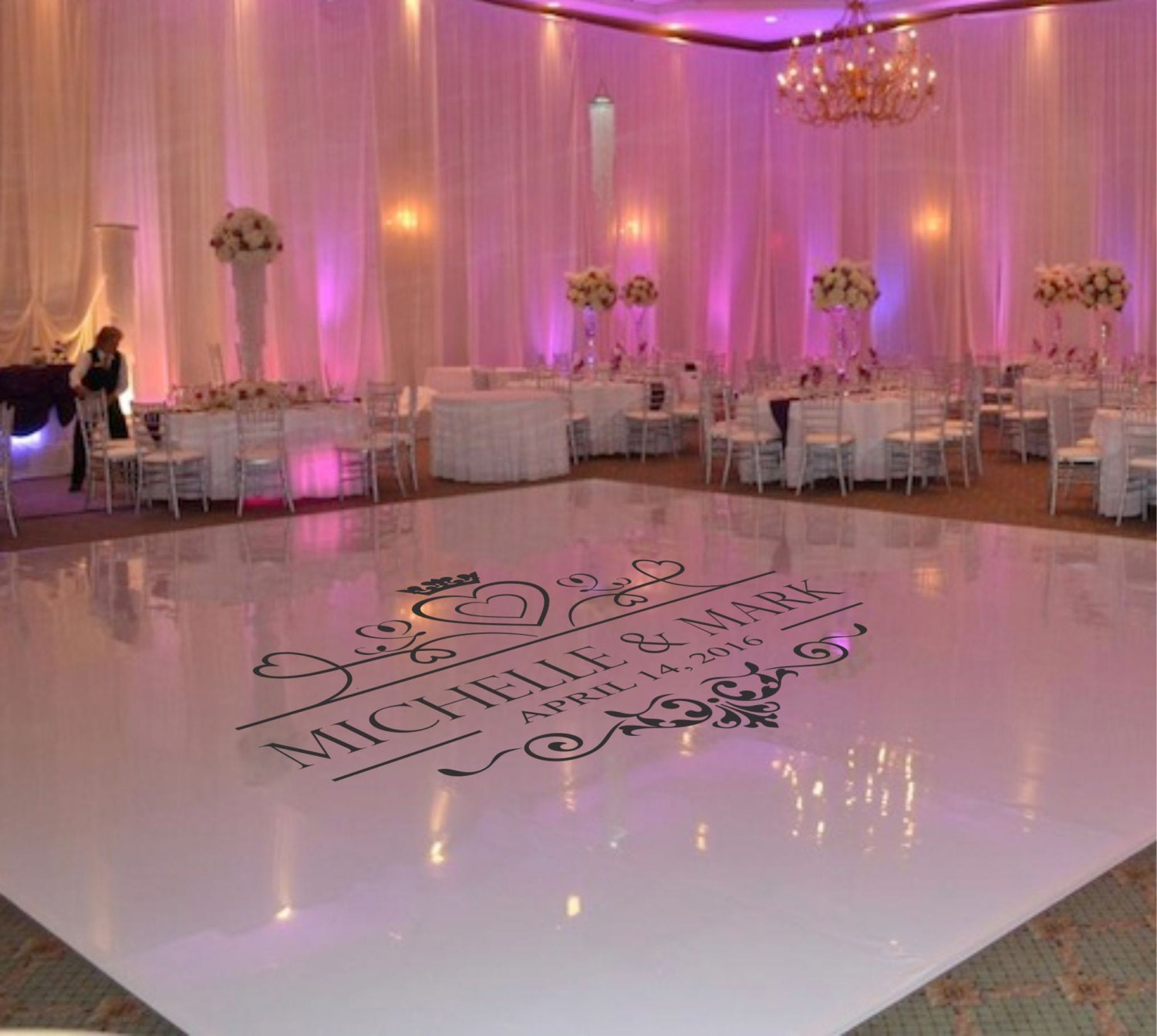 Wedding Dance Floor Decal Wedding Floor Monogram Vinyl Floor